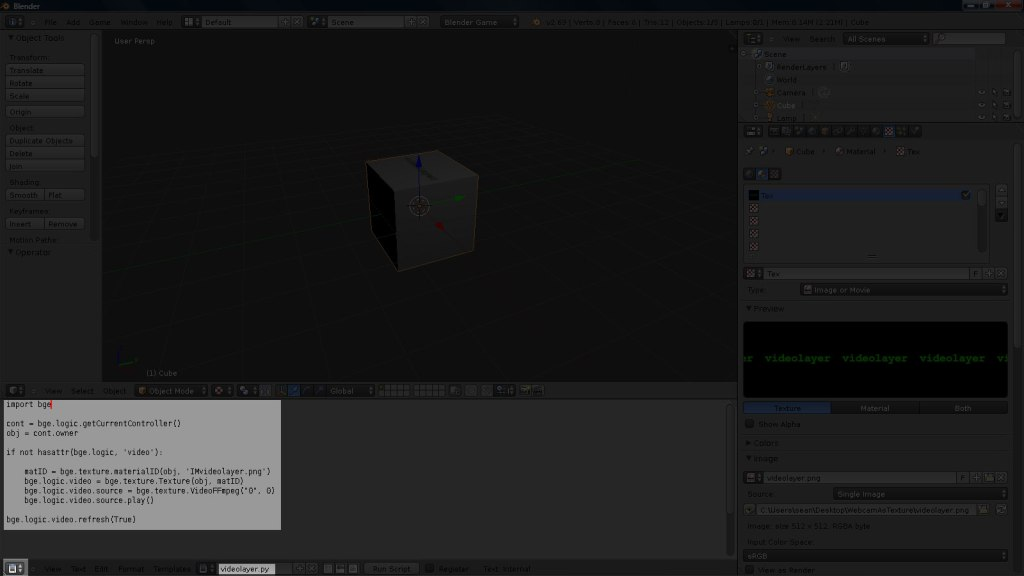 Webcam As Texture in Blender Game Engine | seanwasere